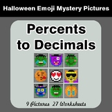 Halloween Math: Percents to Decimals - Color-By-Number Mys