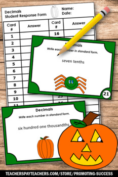halloween math 5th grade halloween place value task cards pumpkin theme. Black Bedroom Furniture Sets. Home Design Ideas