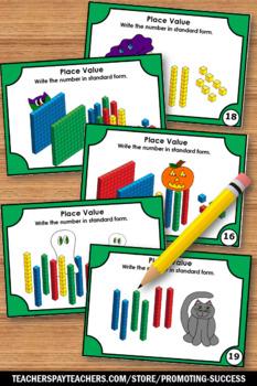 Halloween Place Value Activities, Halloween Math 4th Grade Task Cards
