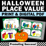 Halloween Place Value Activities Base Ten Blocks SCOOT 2nd Grade Math Task Cards