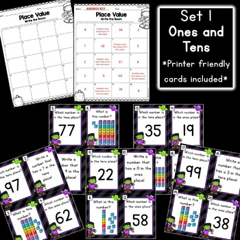 Halloween Math: Place Value Write the Room [2 Sets]