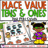 Halloween Math Place Value with Tens and Ones Task Cards and Worksheets