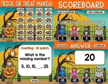 Halloween Math Review Game Show 2nd Grade : An Editable PowerPoint Game Show