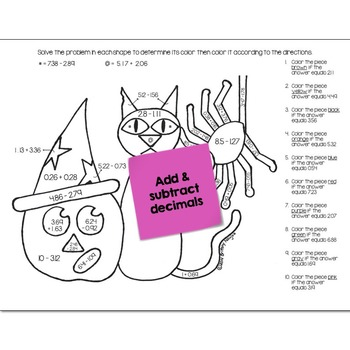 Add & Subtract Decimals Math Practice Halloween Color by Number