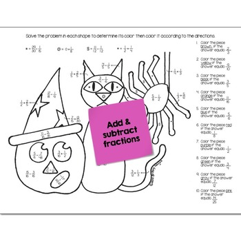 Adding and Subtracting Fractions | Halloween Math Color by Number