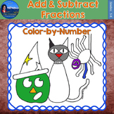 Add & Subtract Fractions Math Practice Halloween Color by Number