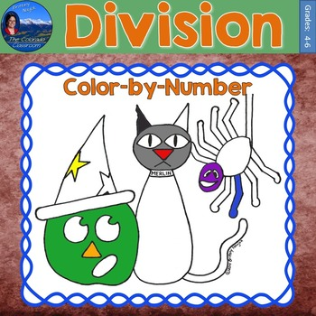 Division Math Practice Halloween Color by Number