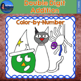 Double Digit Addition Math Practice Halloween Color by Number