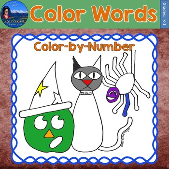 Color Words Math Practice Halloween Color by Number