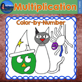 Halloween Math | Multiplication Practice Worksheet | Color