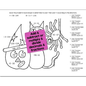 Halloween Math Practice Color by Number Grades K-8