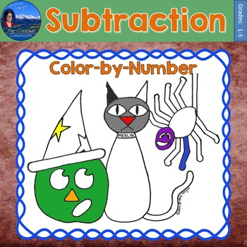 Subtraction Math Practice Halloween Color by Number