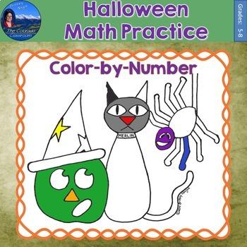 Halloween Math Practice Color by Number Grades 5-8 Bundle