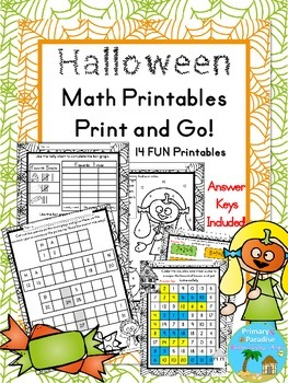 Halloween Math: Print and Go Pack {First and Second Grade}