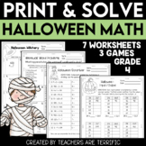 Halloween Math Print and Solve Gr. 4
