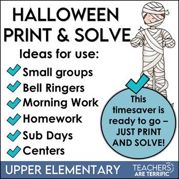 Halloween Math Print and Solve Gr. 4