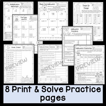 Halloween Math Worksheets Print and Solve Gr. 5