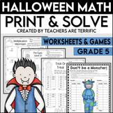 Halloween Math Worksheets Print and Solve Gr. 5