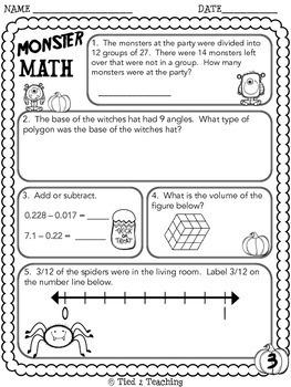 Halloween Math Printables - Fifth Grade