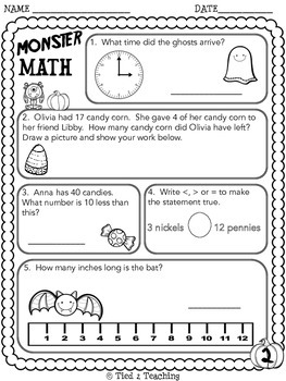 Halloween Math Printables - Second Grade