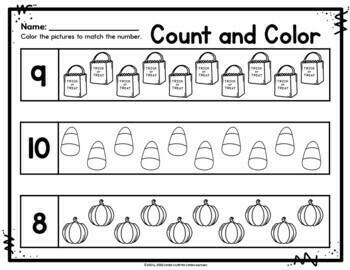 Halloween Math Printables for Preschool