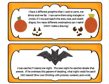 Halloween Math Problem Solving Task Cards