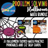 Halloween Math Problem Solving | Task Cards Printables | 3rd Grade BUNDLE