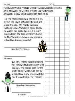 Halloween Math Problems - Frankensteins & Vampires: Common Core Aligned 2nd-3rd