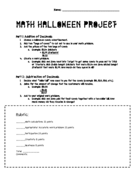 Halloween Math Project: Adding and Subtracting Decimals