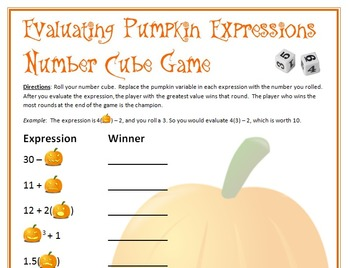 Halloween Math - Pumpkin Number Cube Game - Evaluating Expressions