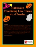 Halloween Math Puzzle - Combining Like Terms