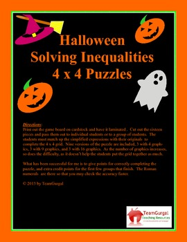 Halloween Math Puzzle - Solving Inequalities