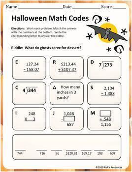 Halloween Math Activities - Print and Digital Versions