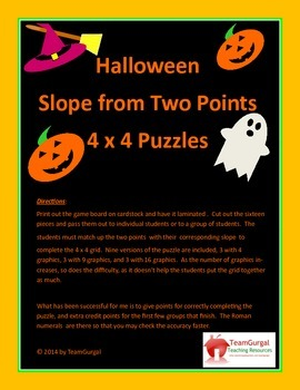 Halloween Math Puzzles - Calculating Slope Given Two Points