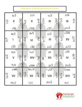 Halloween Math Puzzles - Simplifying Radicals