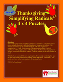 Thanskgiving Math Puzzles - Simplifying Radicals