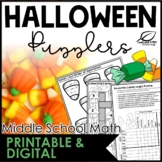 Halloween Math Puzzles for Middle School | Distance Learning