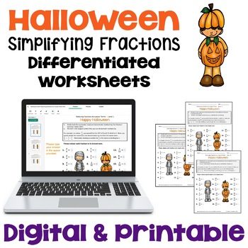 Halloween Reducing Fractions to Lowest Terms Worksheets (3 Levels)
