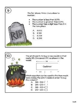 Halloween Texas Math Review Task Cards