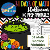 Halloween Math Practice Review Printables 3rd 4th grade TE