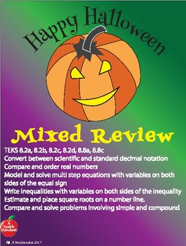 Halloween Math Review Coloring Page