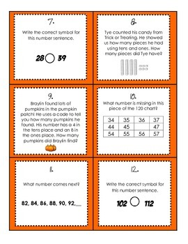 Halloween Math Review- Place Value, Graphing, and Number Sense
