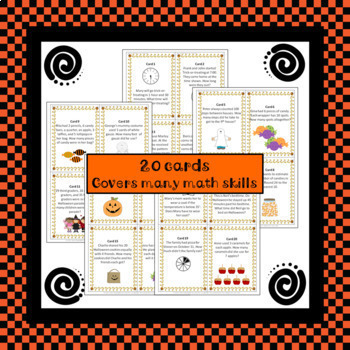 Halloween Math Review Scavenger Hunt