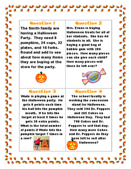 Halloween Math Review Scoot Activity