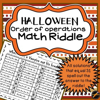 Halloween Math Riddle: Order of Operations