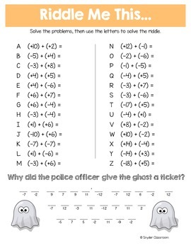 Halloween Adding and Subtracting Integers Math Riddles by Snyder ...