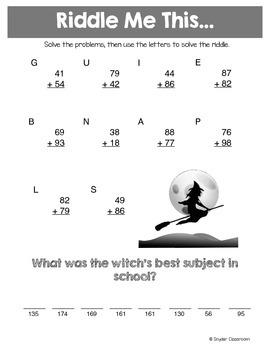 Halloween Addition Math Riddles