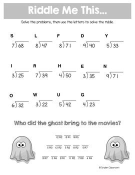 halloween long division math riddles by snyder classroom tpt. Black Bedroom Furniture Sets. Home Design Ideas