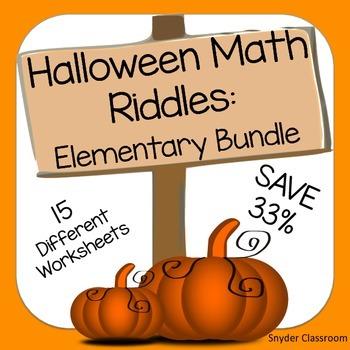 Halloween Math Riddles Elementary Bundle