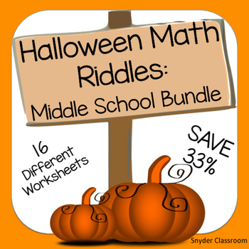 Halloween Math Middle School Math Riddles by Snyder